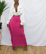 Solid Tassel High Waist Maxi Skirt MTY-6538