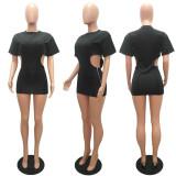 Fashion Solid Color Cutout Zipper Mini Dress MAE-2099