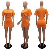 Fashion Letter Print Cutout Zipper Mini Dress MAE-2100