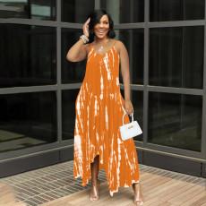 Plus Size Tie Dye Straps Pocket Loose Maxi Dress QSF-51012