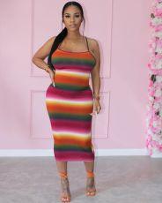 Fashion Sexy Print Backless Midi Dress LSF-91161