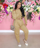 Casual Solid Long Sleeve Two Piece Pants Set TR-1160