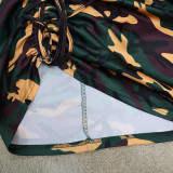 Plus Size Camo Print Long Sleeve Ruched Bodycon Dress CYA-1560