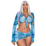 Mesh Printed Long Sleeve Drawstring Skirt Three Piece Sets ME-S885