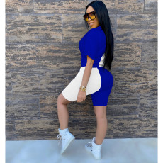 Fashion Casual Sequin Splice Short Sleeve Shorts  Two Piece Sets CM-747-1