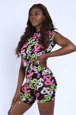 Casual Printed Short Sleeve Two Piece Suits CTHF-9076