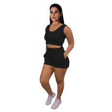 Sports Casual Solid Color Vest Shorts Two Piece Sets CM-2133