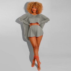 Fashion Casual Solid Color Loose Bat Top Shorts Suit XYMF-8066