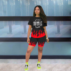 Flame Letter Print T Shirt And Shorts 2 Piece Sets MNKF-8006