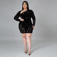 Plus Solid Sexy Long Sleeve Zipper Mini Dress CYA-1562