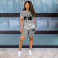 Pink Letter Print Gradient Two Piece Shorts Set MNKF-8005