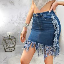 Plus Size Denim Tassel Bodycon Mini Skirt HSF-2556