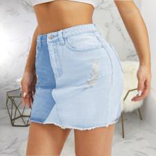 Plus Size Color Spliced Bodycon Mini Skirt HSF-2557