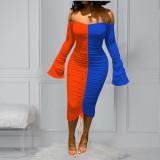 Contrast Color Ruched Slash Neck Long Sleeve Midi Dress OMMF-1566