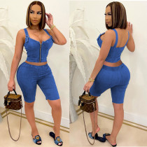 Solid Zipper Strap Top And Shorts 2 Piece Sets NSFF-70008