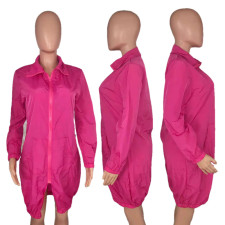 Solid Long Sleeve Zipper Sunscreen Sun Protection Coat OMMF-537