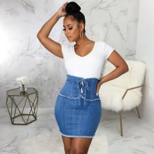 Plus Size Denim High Waist Lace-up Bodycon Mini Skirt HSF-2514