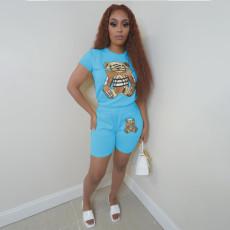 Casual Printed T Shirt Shorts 2 Piece Sets LSF-9086