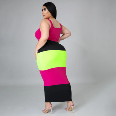 Plus Size Contrast Color Sleeveless Long Dress SFY-2114