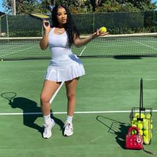 Casual Solid Sleeveless Tennis Mini Culottes Dress GS-2061