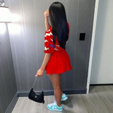 Trendy Printed Shirt Top Pleated Mini Skirt 2 Piece Sets SZF-8120