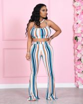 Colorful Striped Cami Top Flared Pants 2 Piece Sets LSF-91163
