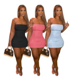 Sexy Solid Off Shoulder Strapless Bodycon Mini Dress AIBF-6652