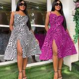 Fashion Sexy Sling Print Dress WPF-8006