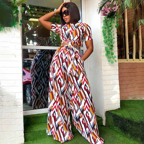 Fashion Casual Print Short Sleeve And Pants Two Piece Sets WPF-8002