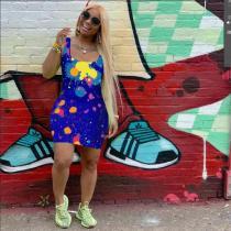Fashion Print Sleeveless Mini Dress SNIF-568012
