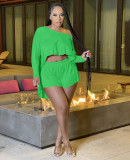 Solid Long Sleeve Two Piece Shorts Set KSN-88004