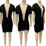 Sexy Solid Deep V Neck Short Sleeve Mini Dress FNN-8616