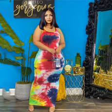 Plus Size Tie Dye Print Sleeveless Long Dress WTF-9146