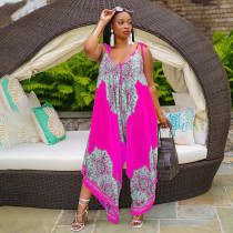 Plus Size Fashion Loose Sling Printed Jumpsuit WPF-80118