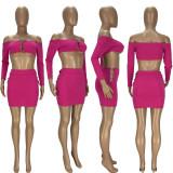 Sexy Long Sleeve Off Shoulder Mini Skirt 2 Piece Sets LDS-3282