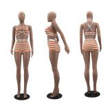 Sexy Striped Two Piece Shorts Set WZ-8391
