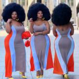 Plus Size Multicolor Splice Strap Dress (Without Belt) WPF-8008