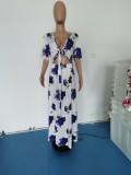 Plus Size Fashion Sexy Print Dress WPF-80078