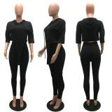 Casual Solid Hooded Half Sleeve 2 Piece Pants Set MAE-2101
