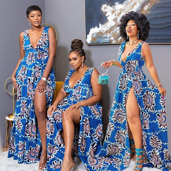 Fashion Sexy Slit Print Dress WPF-8004