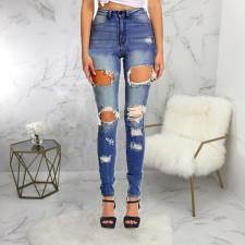 Fashion High Waist Ripped Slim-fit Skinny Jeans HSF-2454