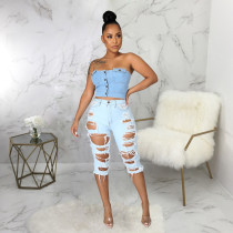 Plus Size Fashion All-match Frayed Ripped Hole High Waist Jeans HSF-2517