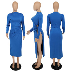 Sexy Solid Full Sleeve High Split Long Dress XINF-60016