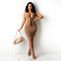 Sexy Solid Off Shoulder Strapless Hollow Bodycon Dress YBSF-86715