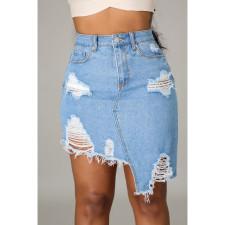 Denim Ripped Hole Irregular Mini Skirt HSF-2520