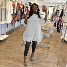 Plus Size Solid Half Sleeve Ruffled Dress OLYF-6068