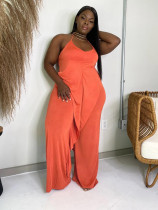 Solid Ruffled Halter One Piece Jumpsuit OLYF-6067