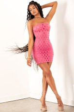 Sexy Hollow Out Strapless Bodycon Mini Dress JRF-3634