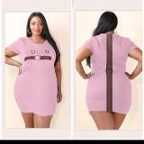 Plus Size QUEEN Letter Short Sleeve Mini Dress HBF-4001
