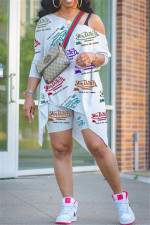 Plus Size Casual Letter Print 3/4 Sleeve Top Shorts Two Piece Sets LQ-039